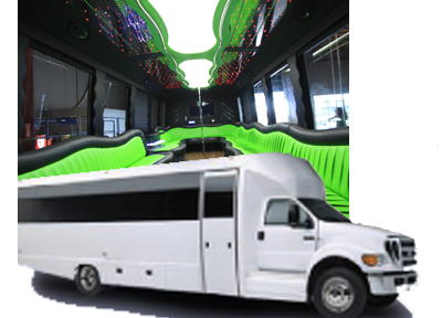 WHITE Party Limo Bus 36 Passenger